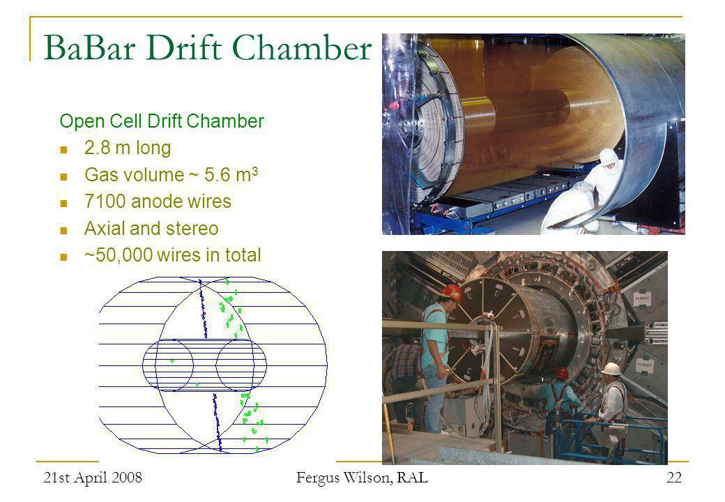 BaBar Drift Chamber Open Cell Drift Chamber 2.8 m long