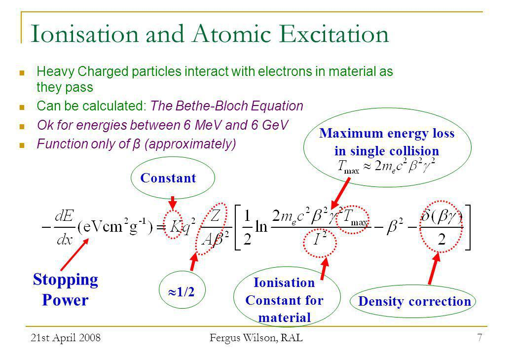 Ionisation and Atomic Excitation