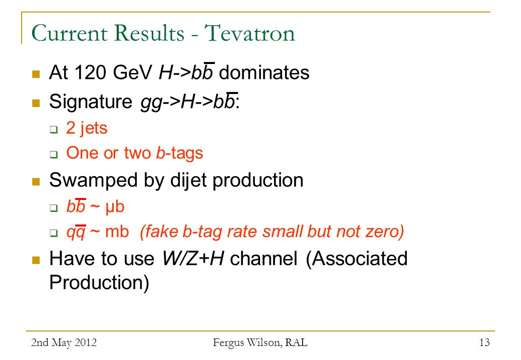 Current Results - Tevatron