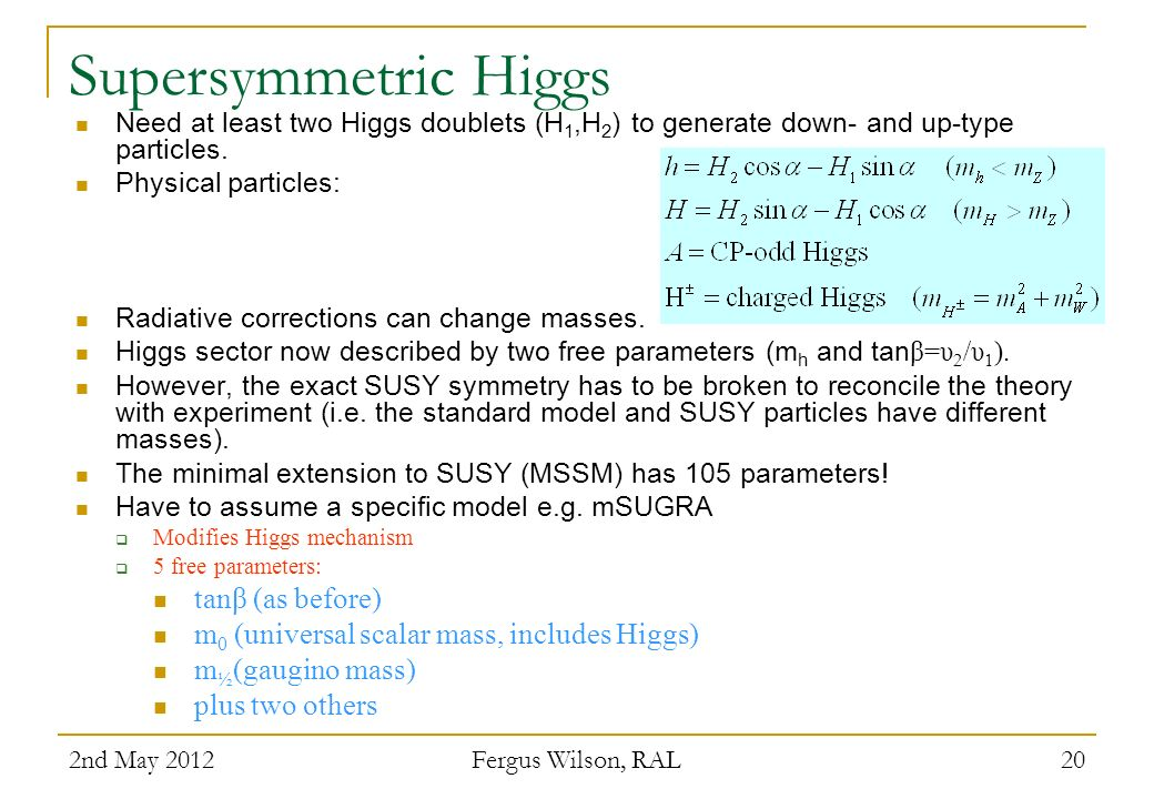 Supersymmetric Higgs tanβ (as before)
