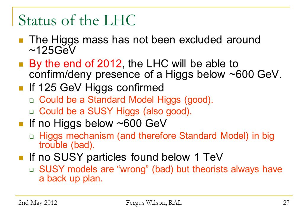 Status of the LHC The Higgs mass has not been excluded around ~125GeV