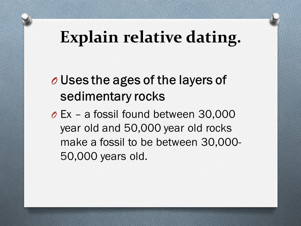 relative dating sedimentary rocks Relative dating fossils are found in sedimentary rocks that formed when eroded sediments piled up in low-lying places such as river flood plains.