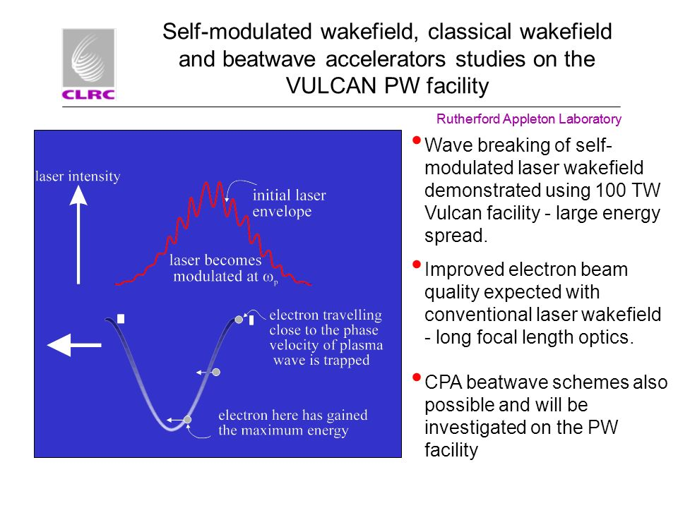 Self-modulated wakefield, classical wakefield and beatwave accelerators studies on the VULCAN PW facility