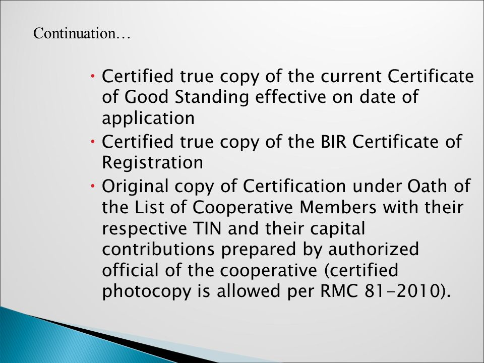 Taxation for cooperatives presented by ms yesa p yap ppt certified true copy of the bir certificate of registration yelopaper Choice Image