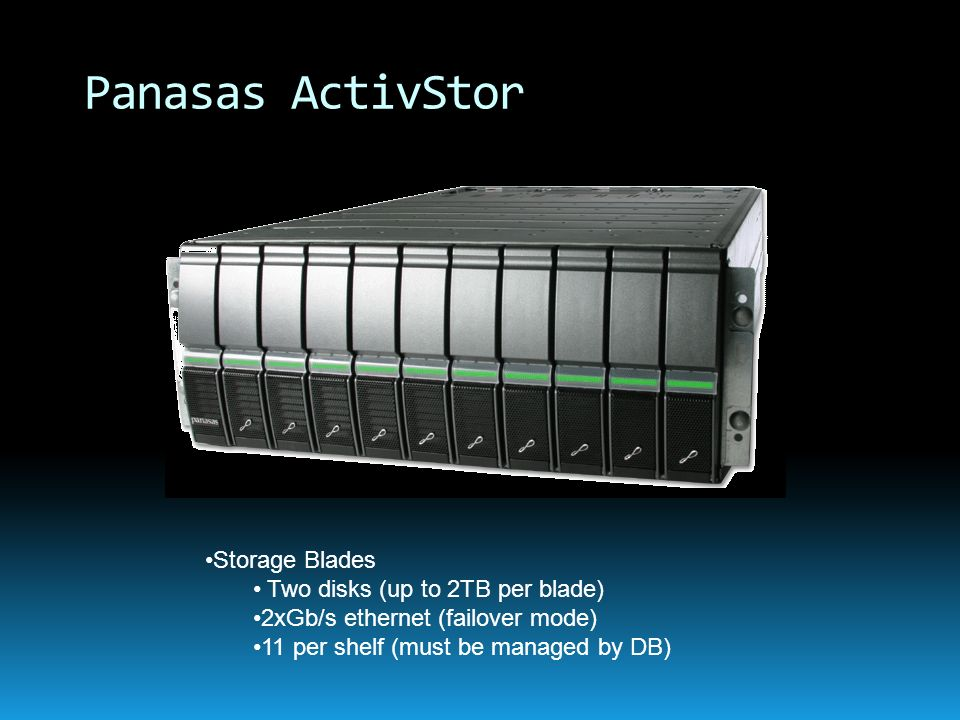 Panasas ActivStor Storage Blades Two disks (up to 2TB per blade)