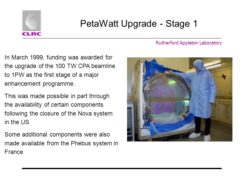 PetaWatt Upgrade - Stage 1