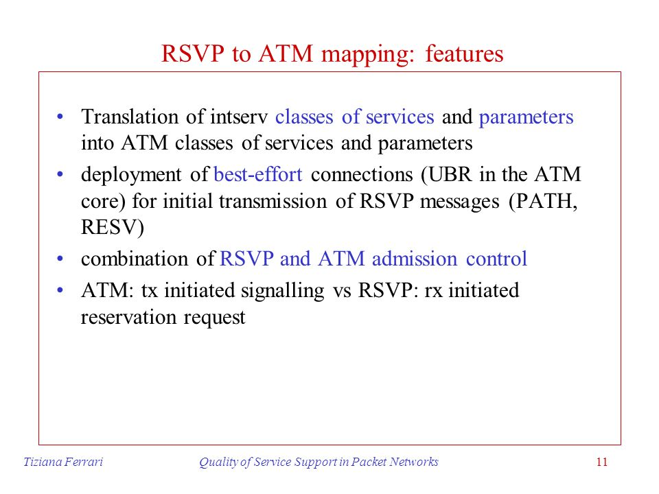 RSVP to ATM mapping: features
