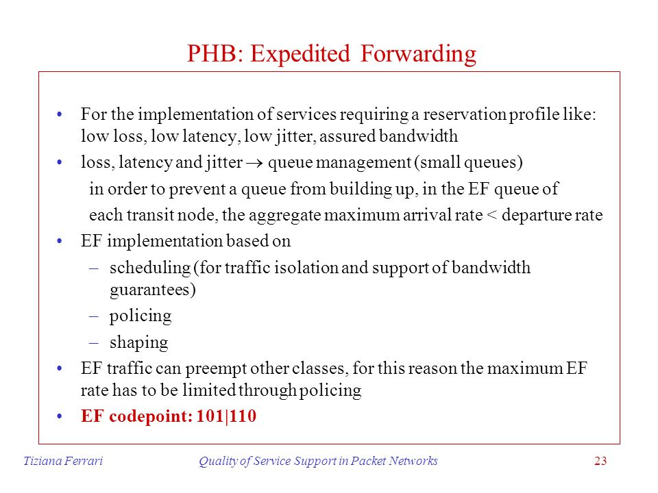 PHB: Expedited Forwarding