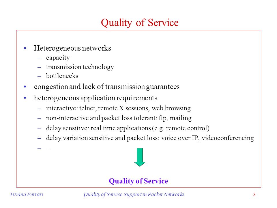 Tiziana Ferrari Quality of Service Support in Packet Networks