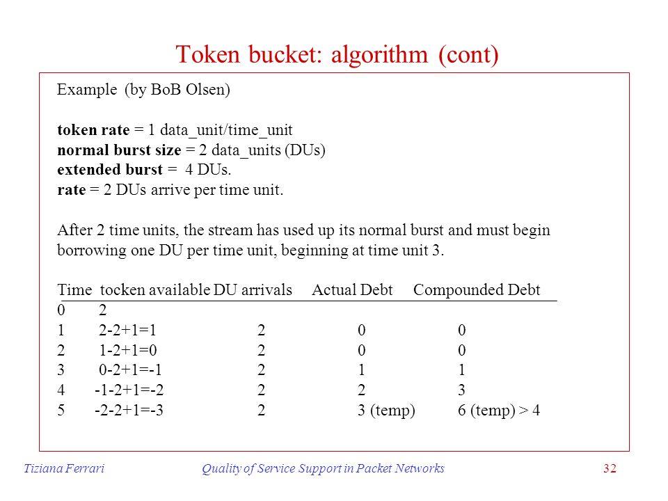 Token bucket: algorithm (cont)