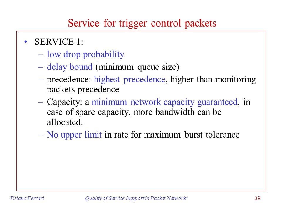 Service for trigger control packets