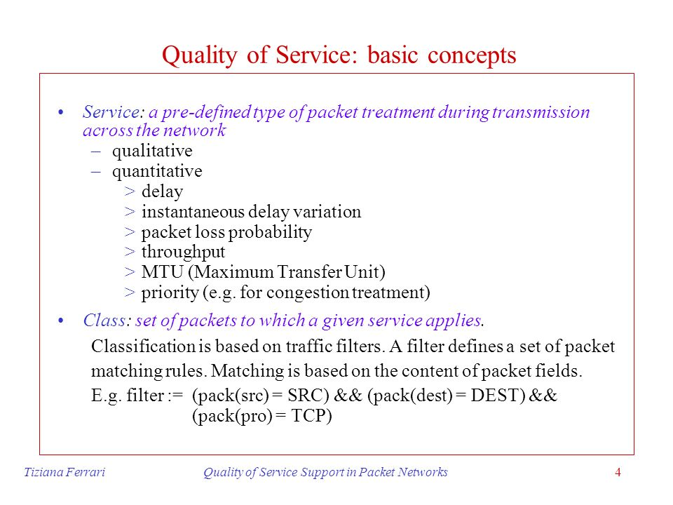 Quality of Service: basic concepts