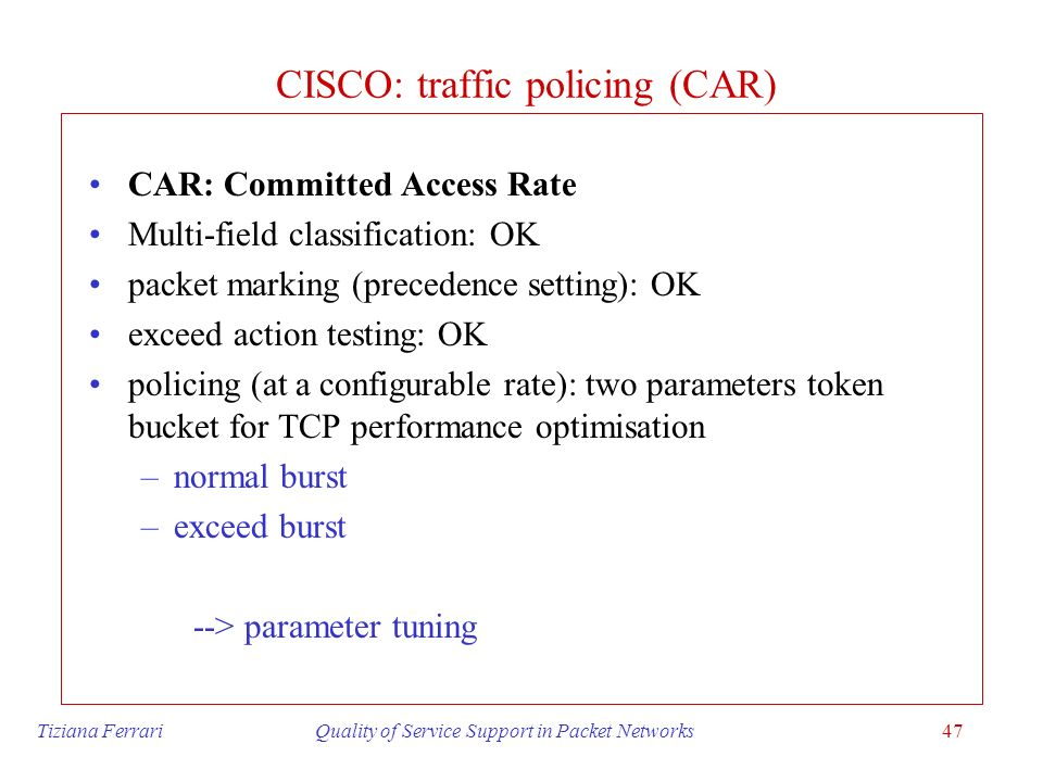 CISCO: traffic policing (CAR)