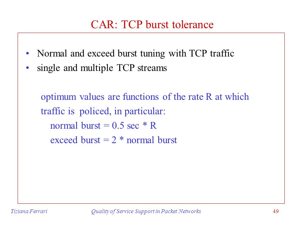 CAR: TCP burst tolerance