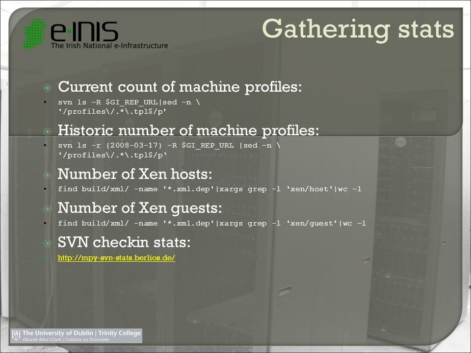Gathering stats Current count of machine profiles: