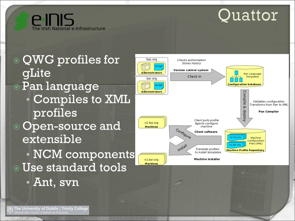 Quattor QWG profiles for gLite Pan language Compiles to XML profiles