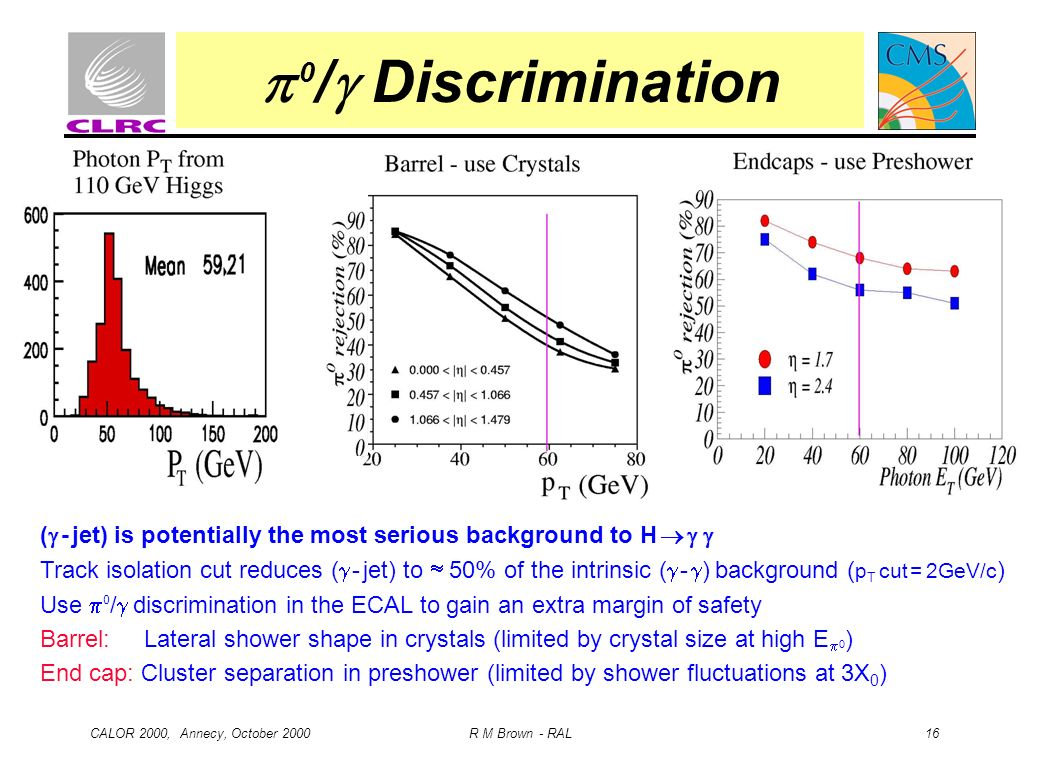  0/ Discrimination ( - jet) is potentially the most serious background to H   