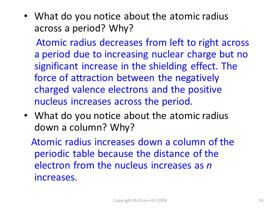 14 copyright - Periodic Table With Atomic Radius Values