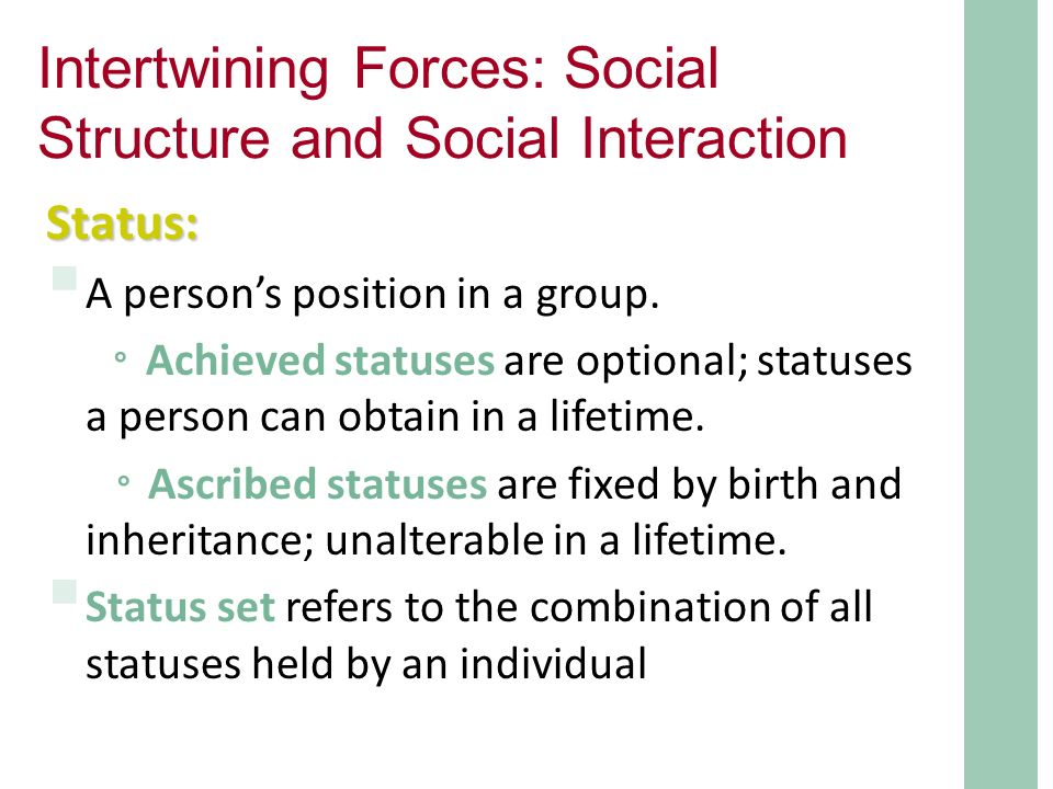 social interaction and social structure 1 | page chapter 4: social structure and social interaction chapter summary people are influenced by the norms and beliefs of their cultures and society.