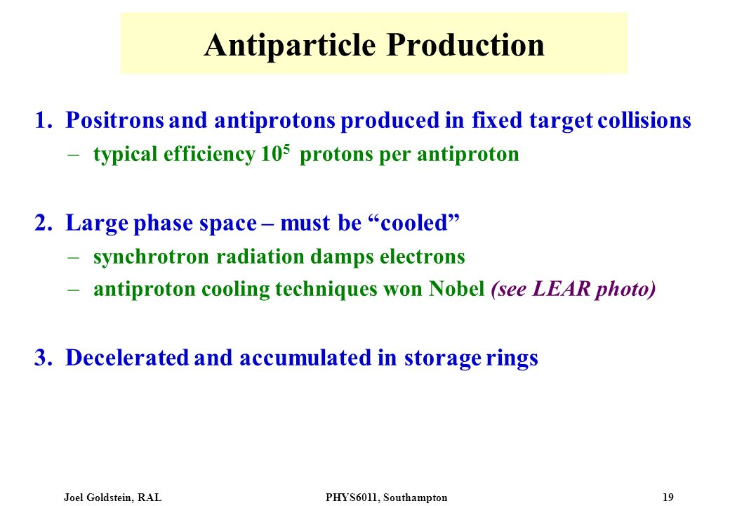 Antiparticle Production
