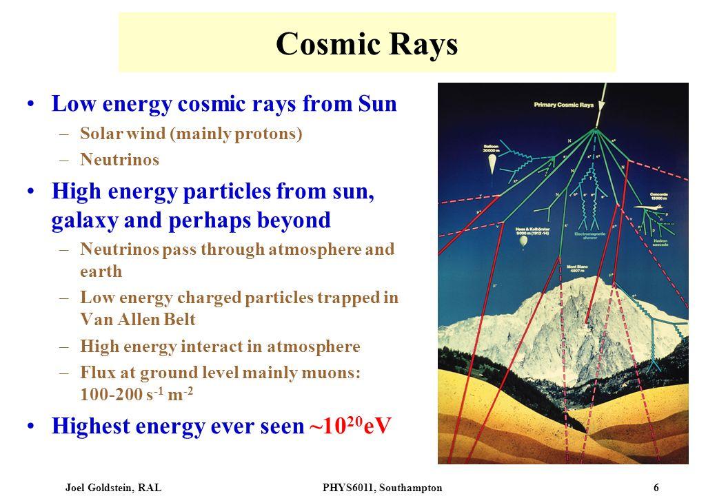 Cosmic Rays Low energy cosmic rays from Sun