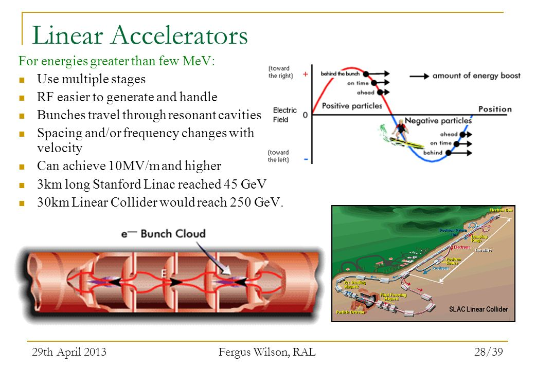 Linear Accelerators For energies greater than few MeV: