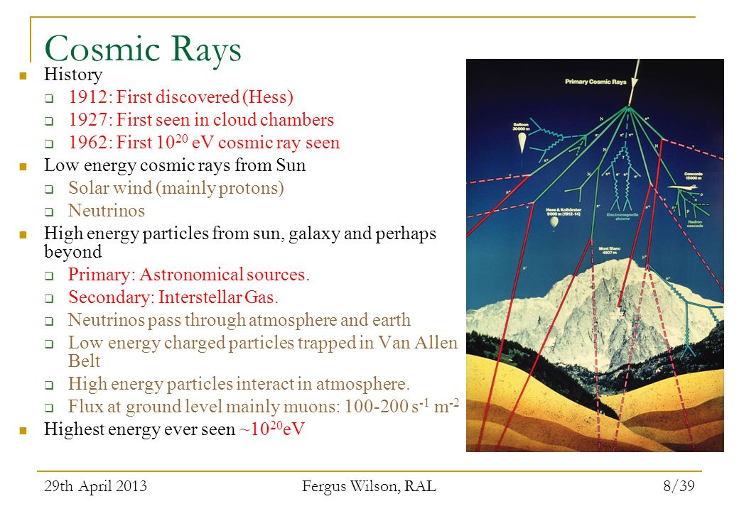 Cosmic Rays History 1912: First discovered (Hess)