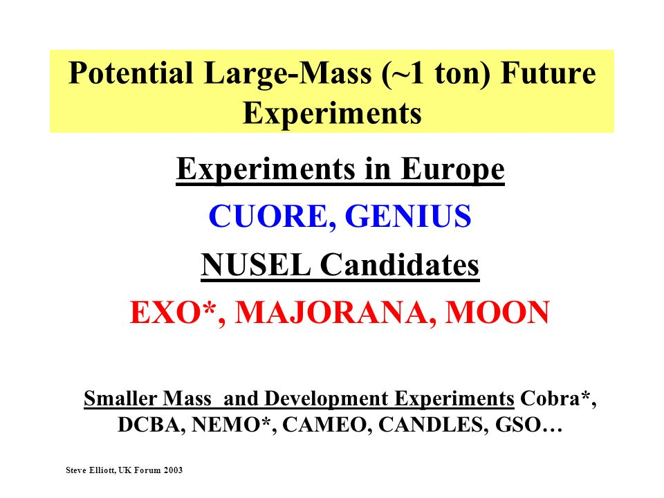 Potential Large-Mass (~1 ton) Future Experiments