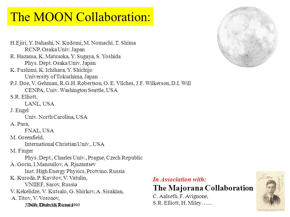The MOON Collaboration: