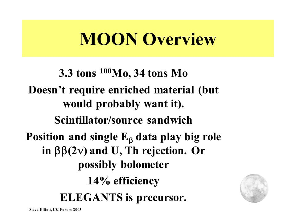 MOON Overview 3.3 tons 100Mo, 34 tons Mo