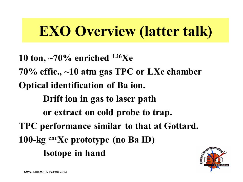 EXO Overview (latter talk)
