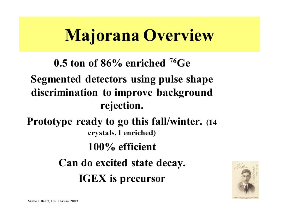 Majorana Overview 0.5 ton of 86% enriched 76Ge