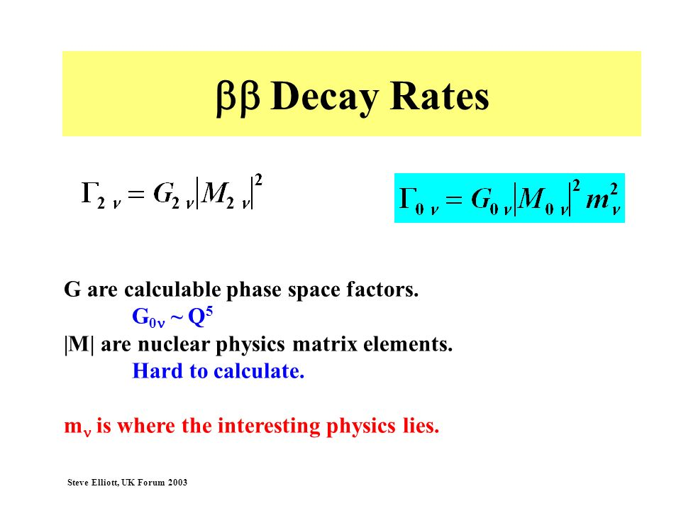 bb Decay Rates G are calculable phase space factors. G0n ~ Q5