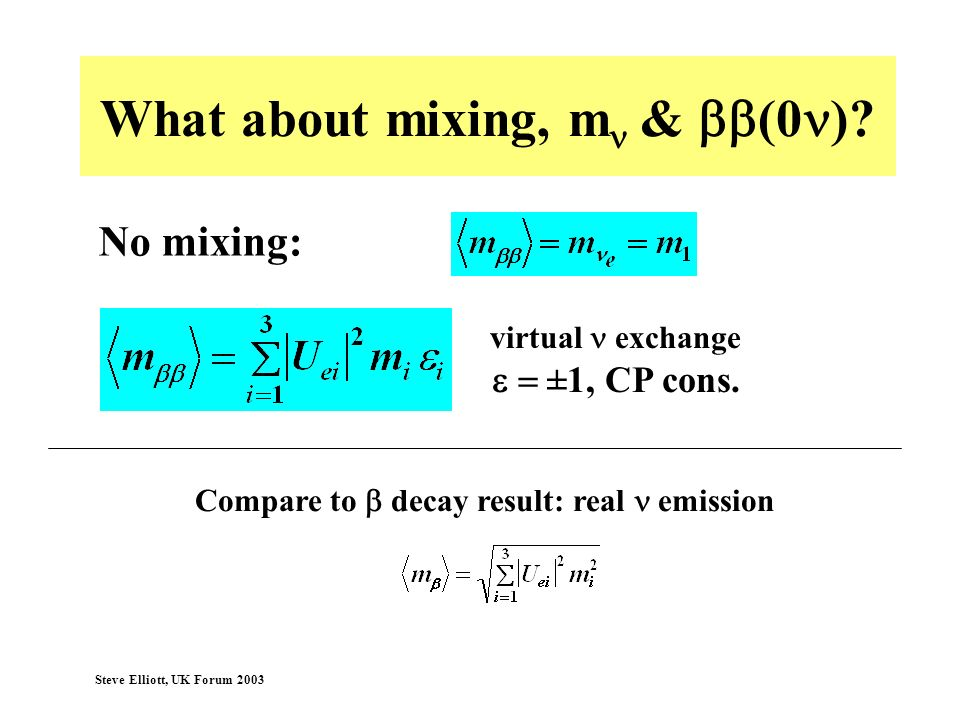 What about mixing, mn & bb(0n)