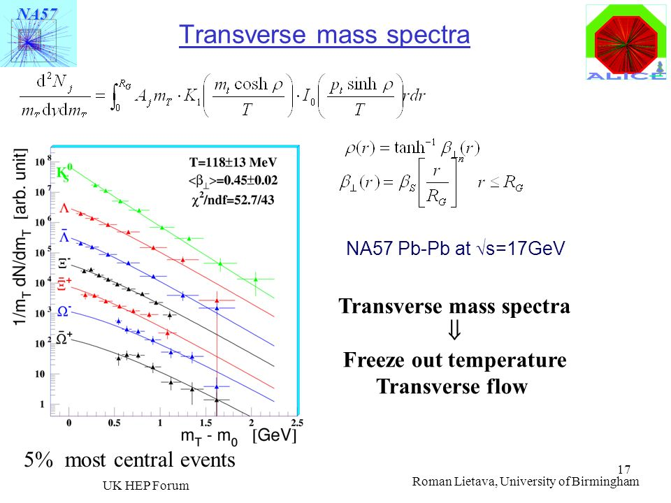 Transverse mass spectra