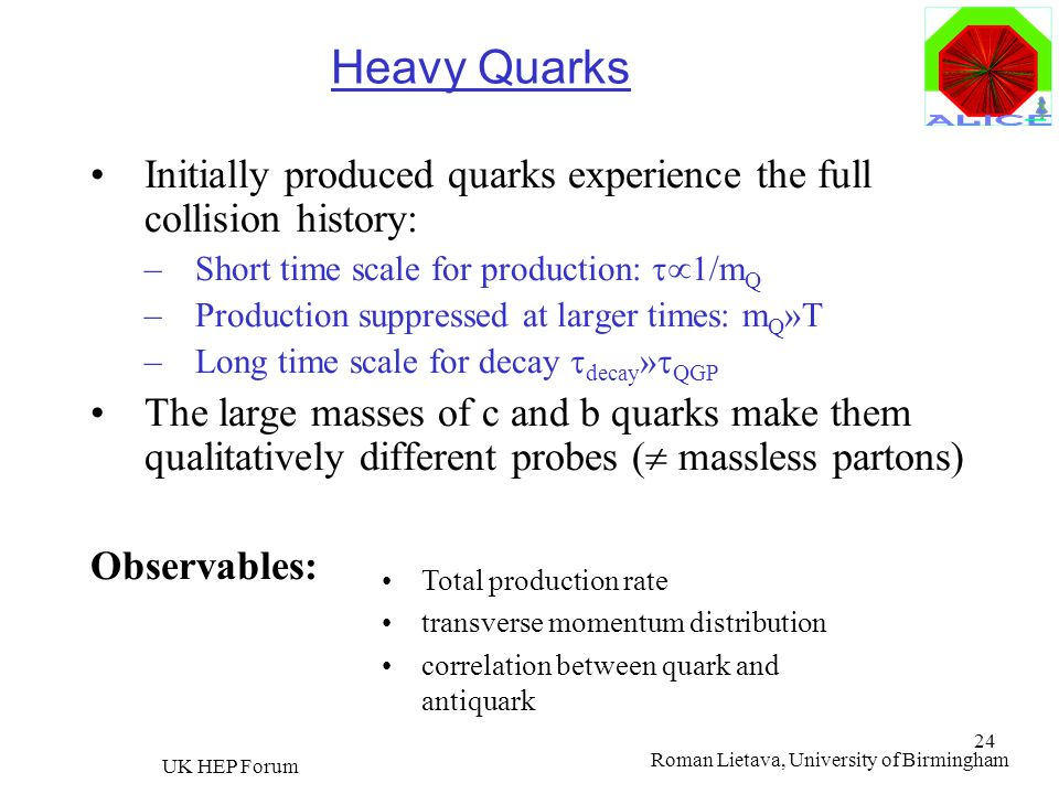Heavy Quarks Initially produced quarks experience the full collision history: Short time scale for production: t1/mQ.