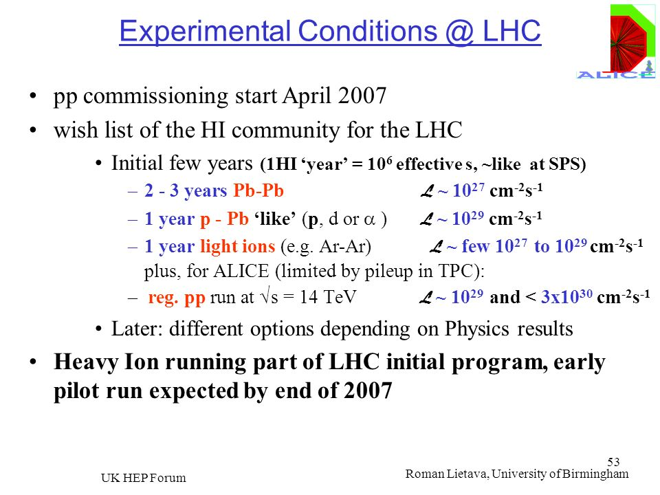 Experimental Conditions @ LHC