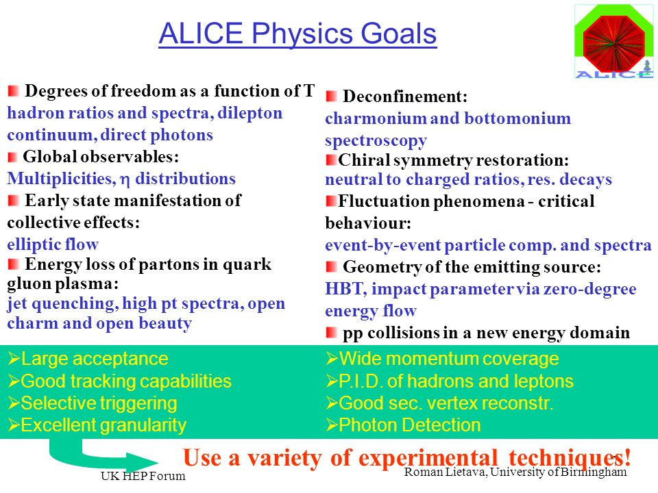 ALICE Physics Goals Use a variety of experimental techniques!