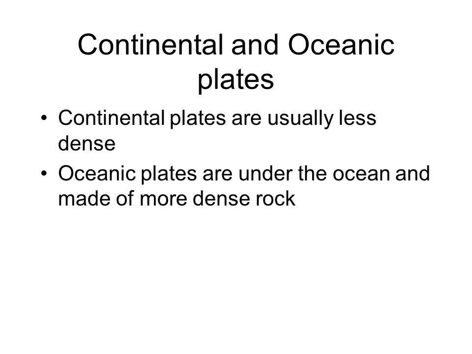 Continental and Oceanic plates