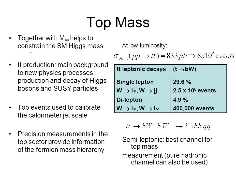 Top Mass - Together with MW helps to constrain the SM Higgs mass