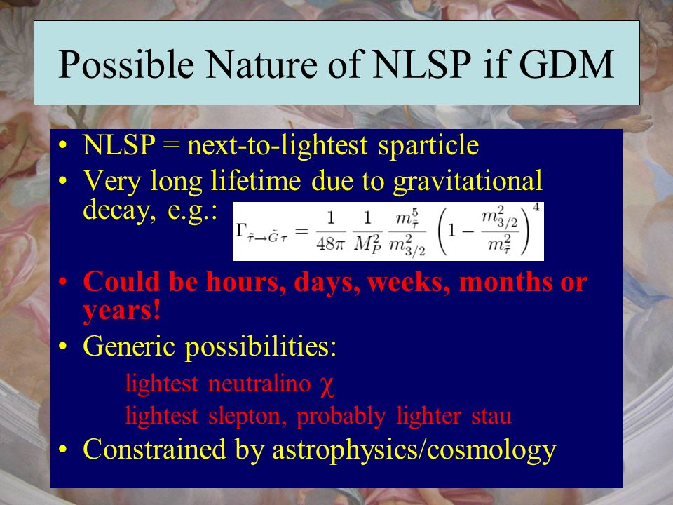Possible Nature of NLSP if GDM