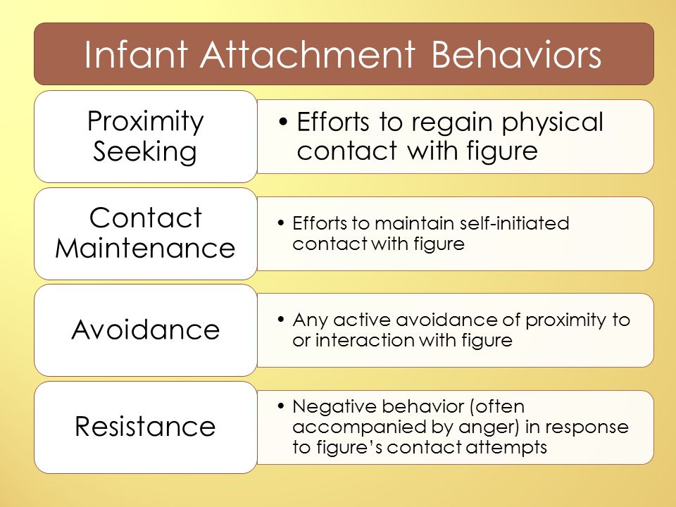 active proximity seeking true attachment It is so by virtue of proximity being necessary for offspring protection, in turn the attachment figure must also be activated, which is particularly true for young infants who attachment system is active from the cradle to the grave prescriptive function telling the child what to do (eg, to seek or not to seek comfort, to cry or.