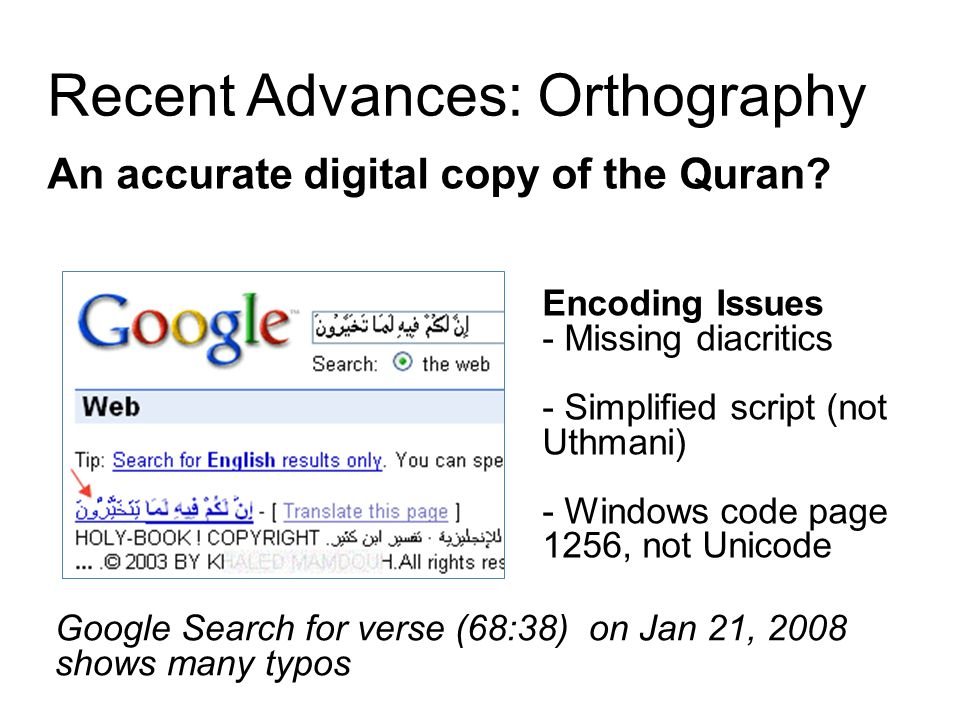 Recent Advances: Orthography