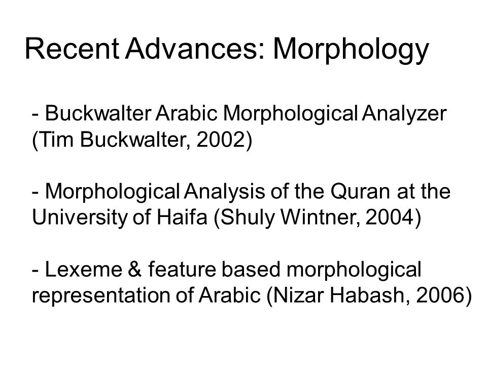 Recent Advances: Morphology