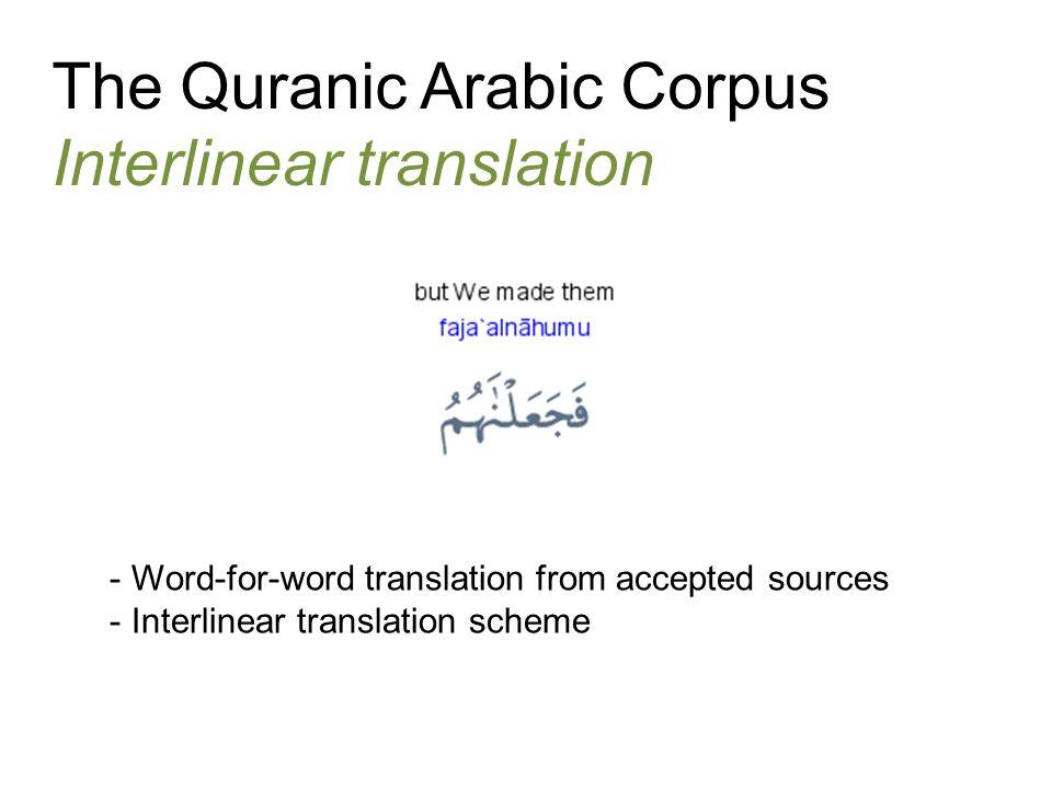 The Quranic Arabic Corpus Interlinear translation