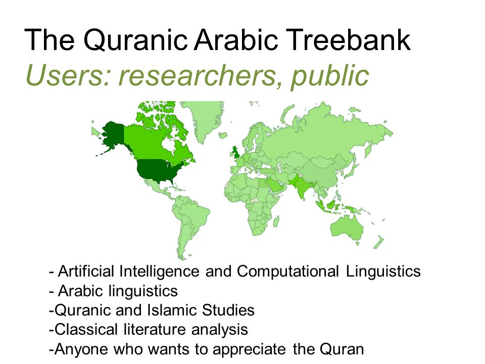 The Quranic Arabic Treebank Users: researchers, public