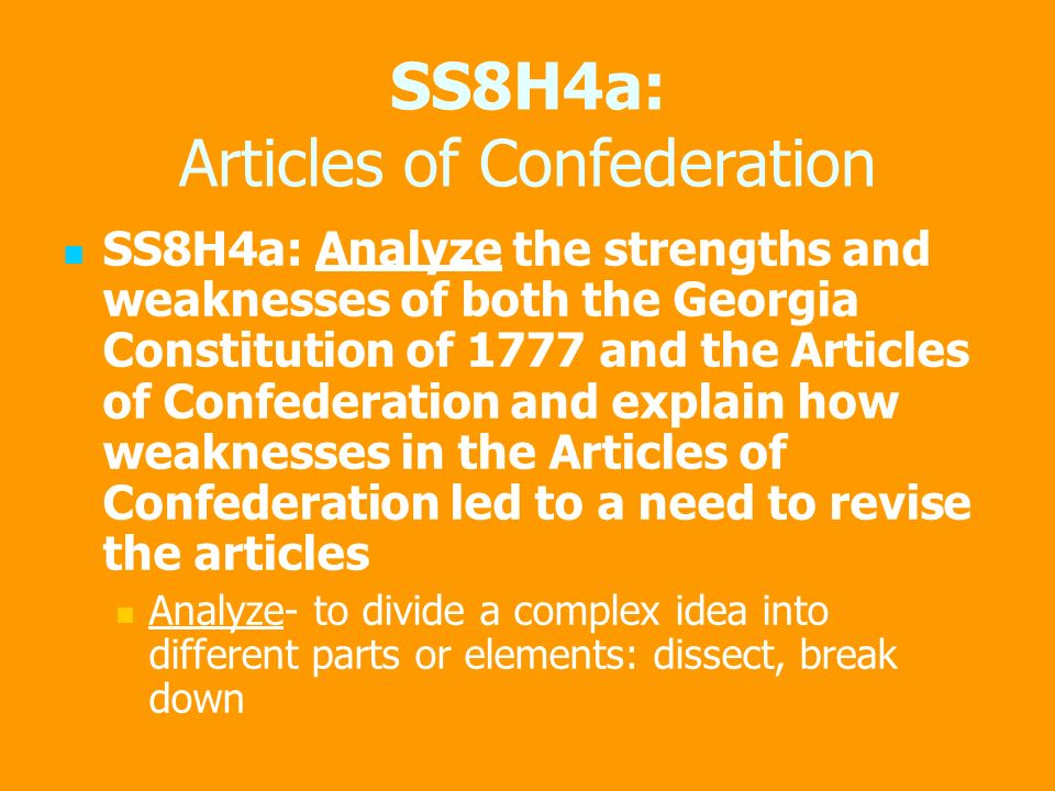 strengths of the articles of confederation essay In my opening sentence for my essay weaknesses of the articles of confederation should i write the articles of confederation were the first governing document of the united states of america or should i write the articles of confederation was the.