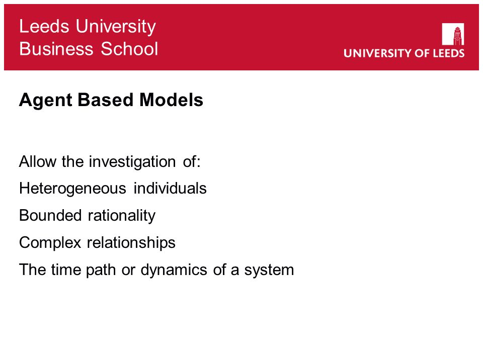 Agent Based Models Allow the investigation of:
