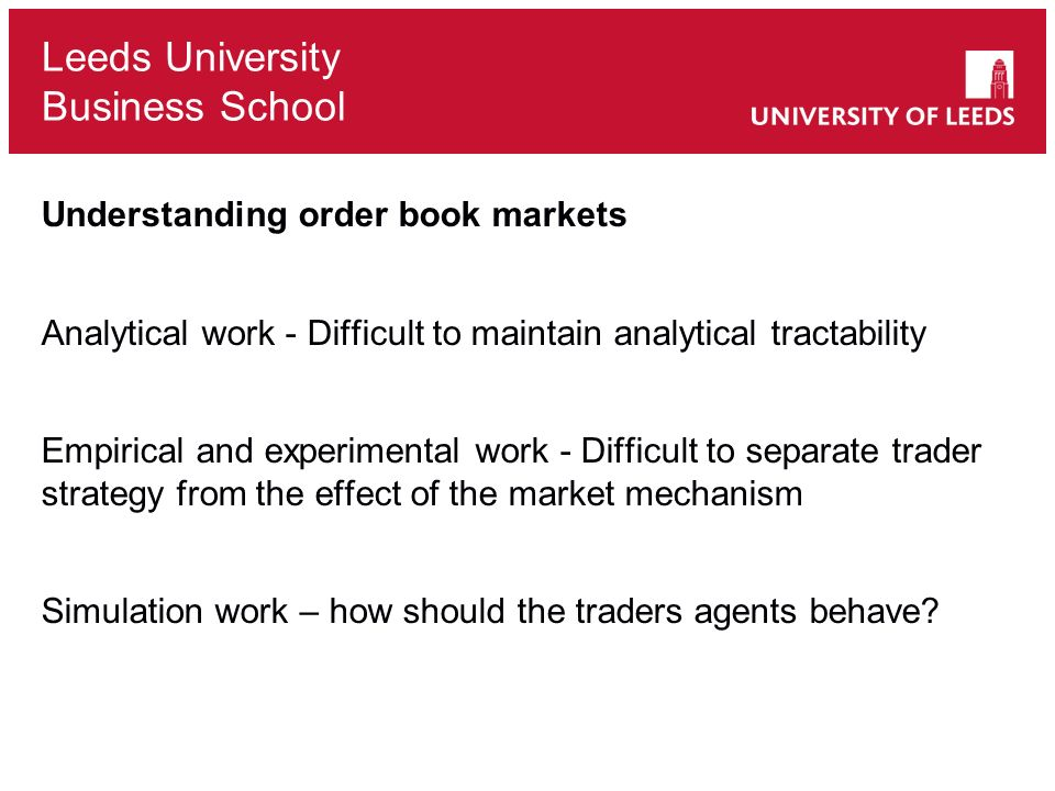 Understanding order book markets