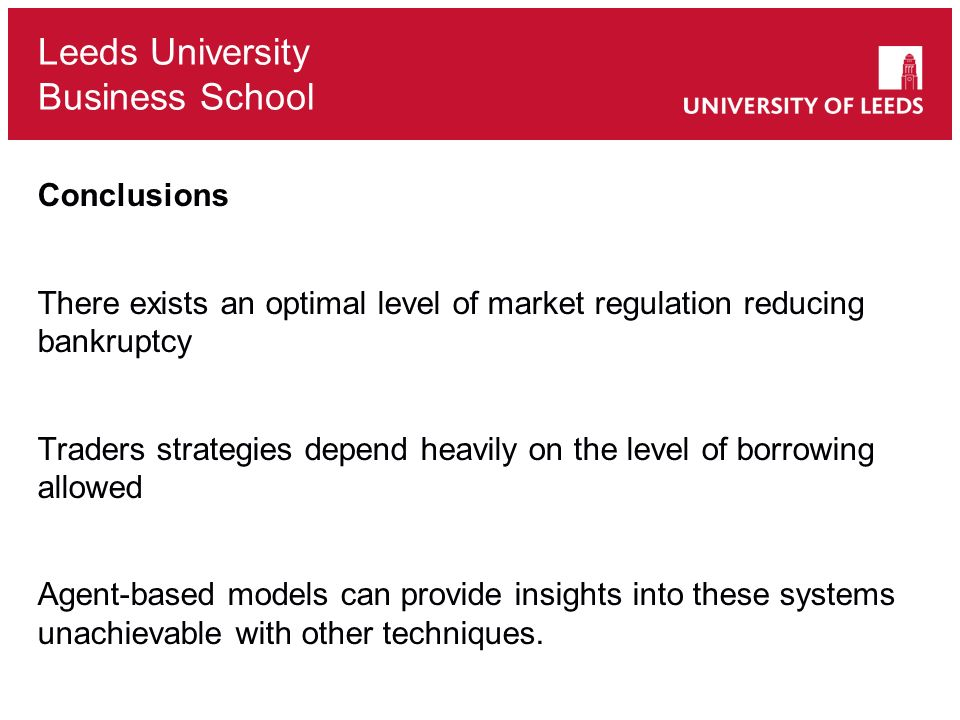 Conclusions There exists an optimal level of market regulation reducing bankruptcy.